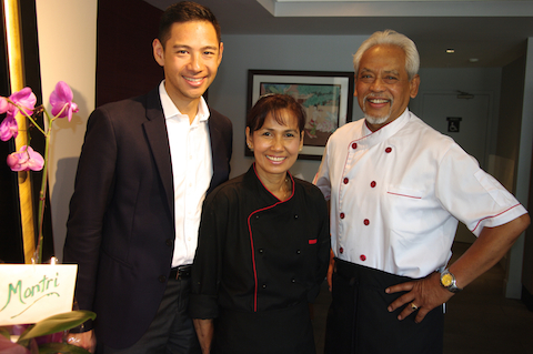 A strong team: l-r-Jonathan Lai, sommelier; Krisana Onsamer, chef; and Montri Rattanaraj