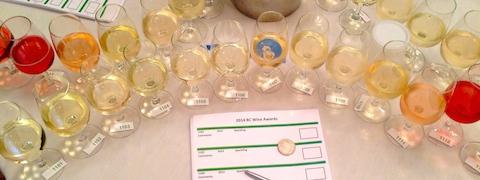 wine flight at BC Wine Awards