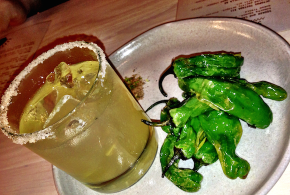 Tacofino Tacobar Mildly addictive Magaraita Fino, with a side of Shishito peppers