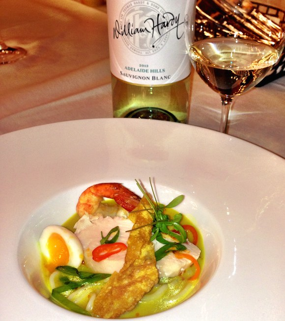 Vintners Brunch Farm2Fork's delicious Laksa with William Hardys Sauv Blanc