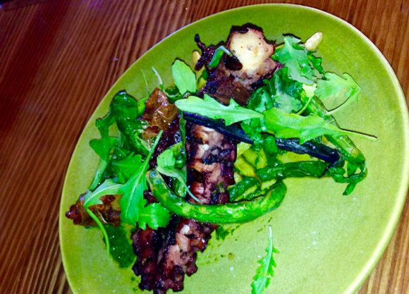 Supermarine charred Octopus with green beans and arugula purée