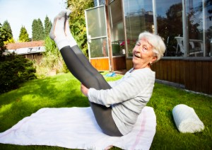 senior woman exercising outdoors
