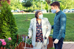 caregiver helping senior get some fresh air