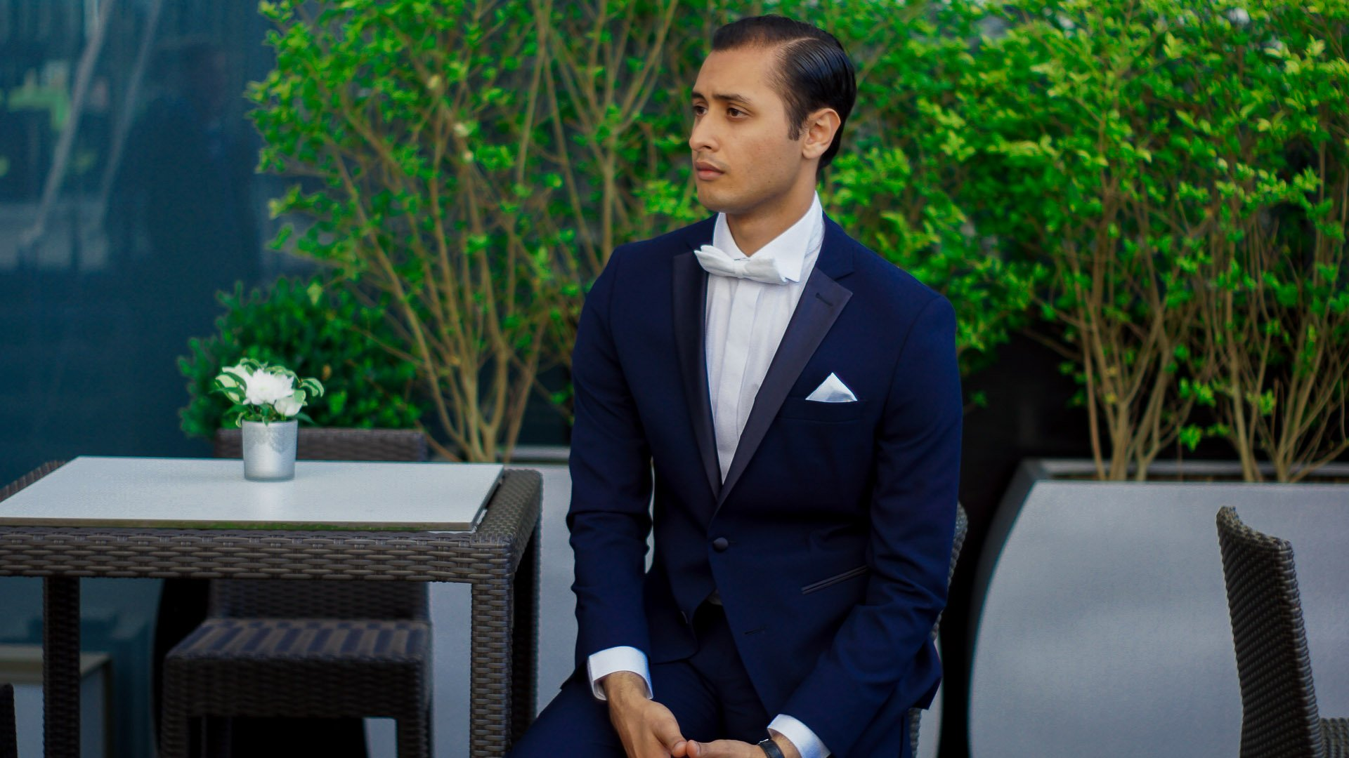 Navy Blue Suit Bow Tie
