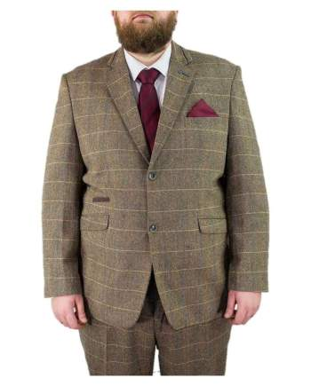 Big & Tall Tweed Suit Regular Fit Cavani Albert Beige Tan Brown Mens 2 Piece Suit - 48S / 44S - Suit & Tailoring