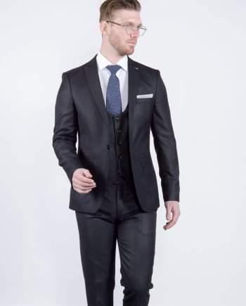 Bond Mens 3 Piece Skinny Fit Black Suit - Suit & Tailoring