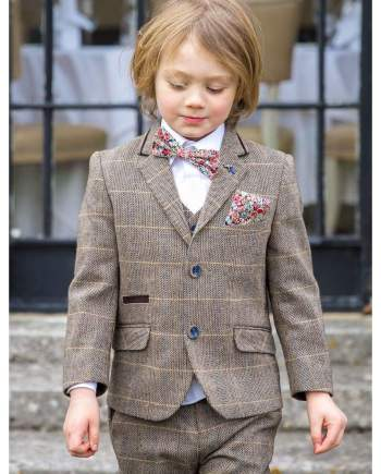 Boys Cavani Albert Three Piece Brown Slim Fit Suit - Suit & Tailoring