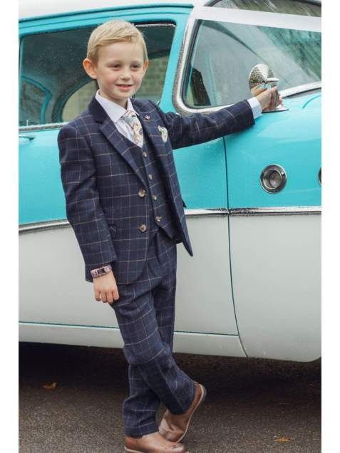 Boys Shelby 3 Piece Navy Slim Fit Check Tweed Suit - 1 YEAR - Suit & Tailoring