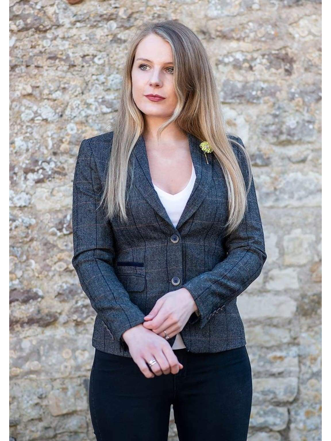 Cavani Albert Grey Womens Tweed Blazer - 34R - Suit & Tailoring