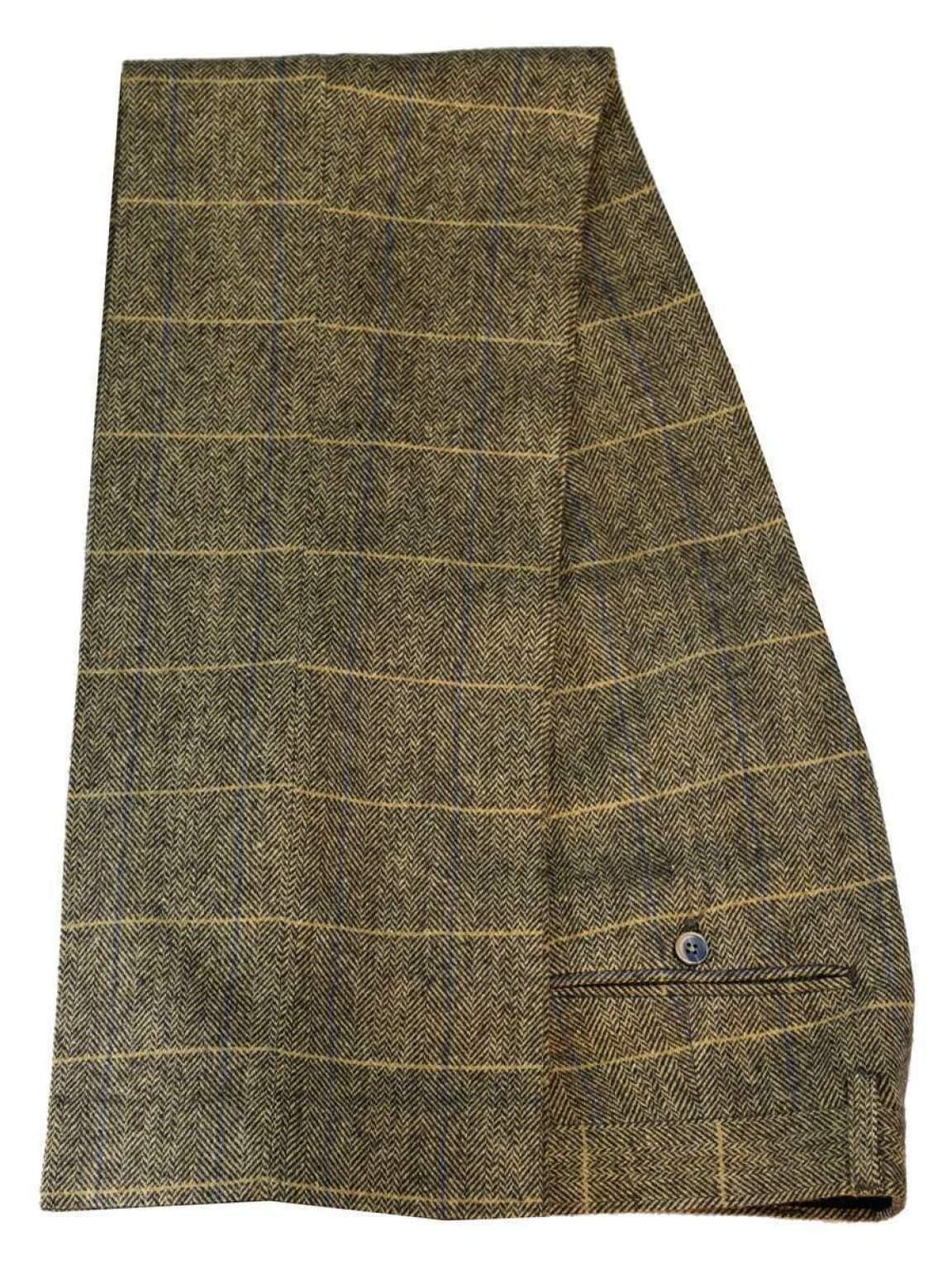 Cavani Albert Mens Beige Tan Brown Tweed Check Trousers - 30 - Suit & Tailoring