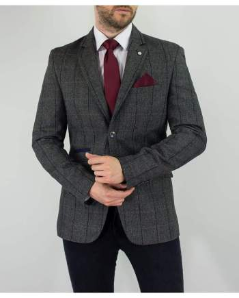 Cavani Albert Mens Grey Sim Fit Tweed Style Jacket - Suit & Tailoring