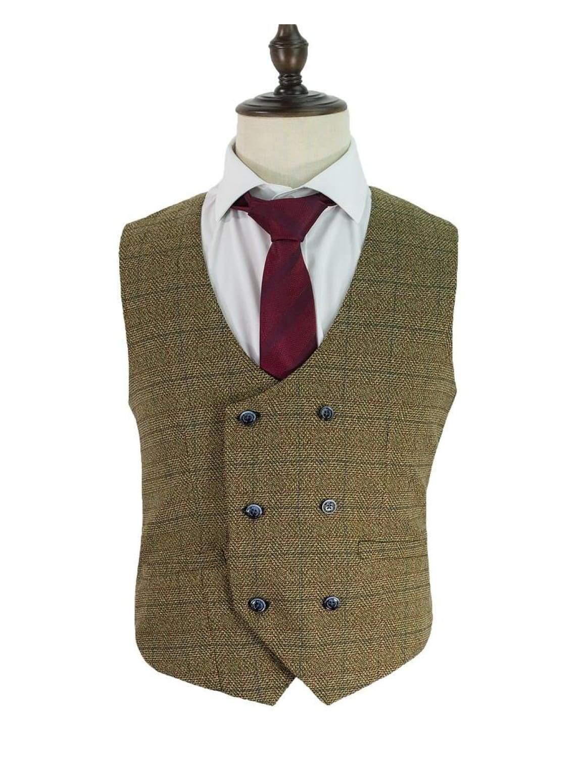 Cavani Ascari Brown Mens Tweed Check Lapel Waistcoat - Suit & Tailoring