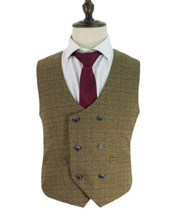 Cavani Ascari Brown Mens Tweed Check Lapel Waistcoat - Suit & Tailoring