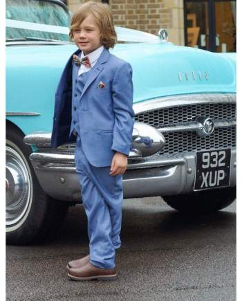 Cavani Boys Blue Jay 3 Piece Sky Blue Slim Fit Suit - Suit & Tailoring