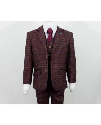 Cavani Carly Boys Three Piece Wine Slim Fit Suit - 1 YEAR - Suit & Tailoring