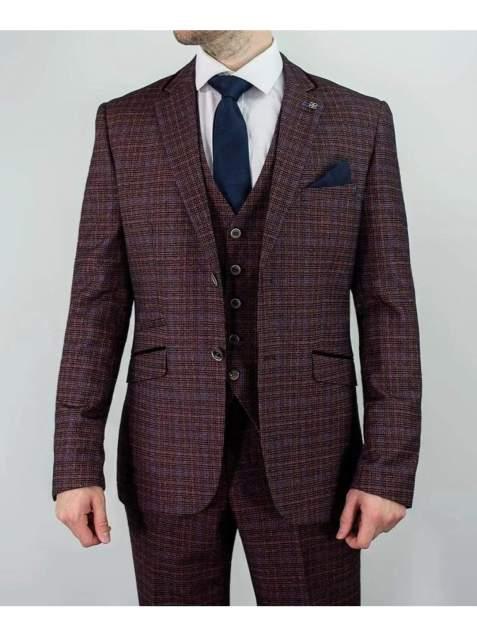 Cavani Carly Mens 3 Piece Tweed Check Burgundy Suit - Suit & Tailoring