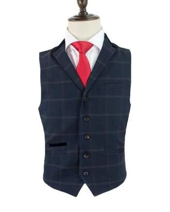 Cavani Connall Navy Tweed Check Style Waistcoat - 36 - Suit & Tailoring