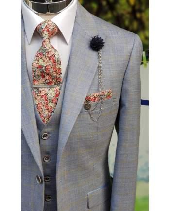 Cavani Connor Mens Light Blue Slim Fit Suit - Suit & Tailoring
