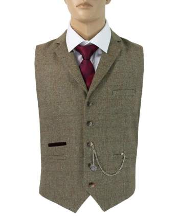 Cavani Gaston Sage Tweed Waistcoat - 36 - Suit & Tailoring