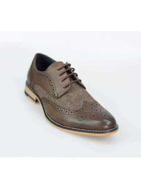 Cavani Horatio Brown Tweed Brogue Shoes - UK7 | EU41 - Shoes