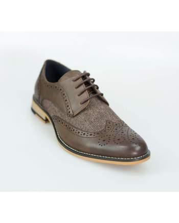 Cavani Horatio Brown Tweed Brogue Shoes - UK7 | EU41 - Shoes