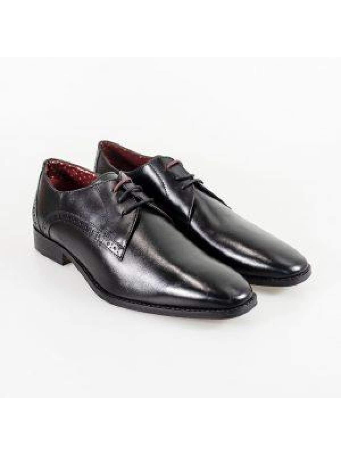 Cavani John Black Mens Leather Shoes - UK7 | EU41 - Shoes