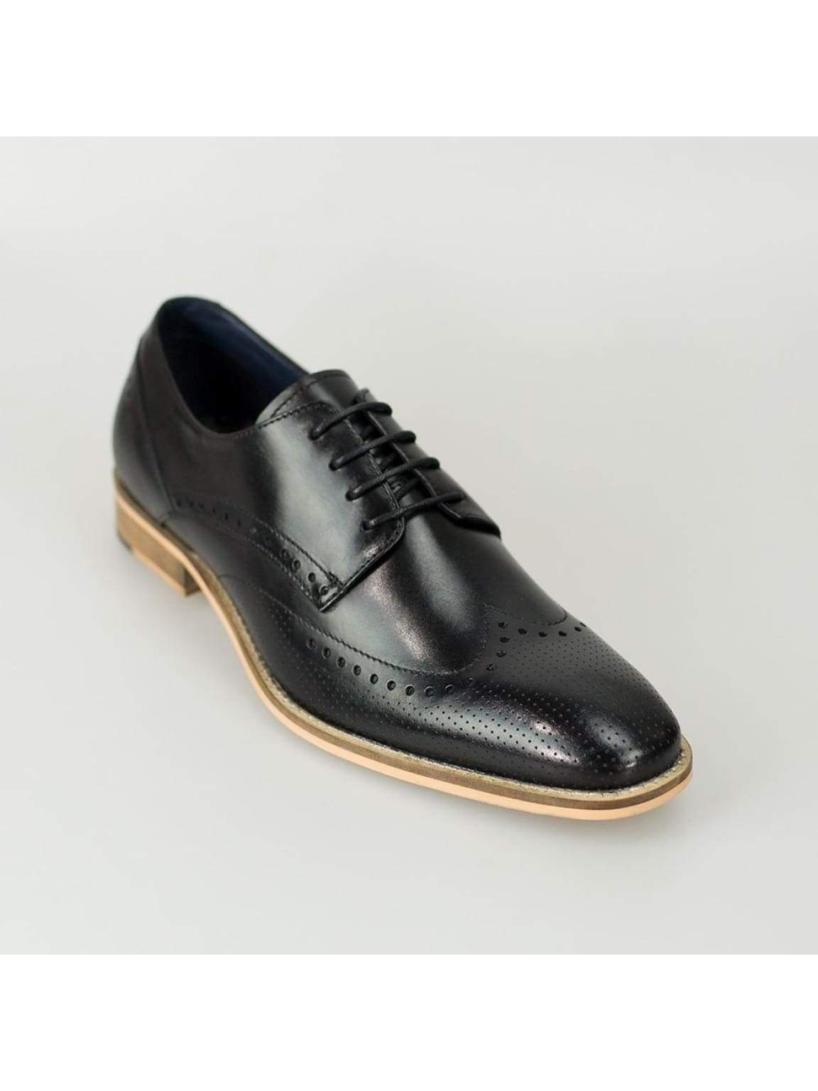 Cavani Rome Black Mens Leather Shoes - Shoes