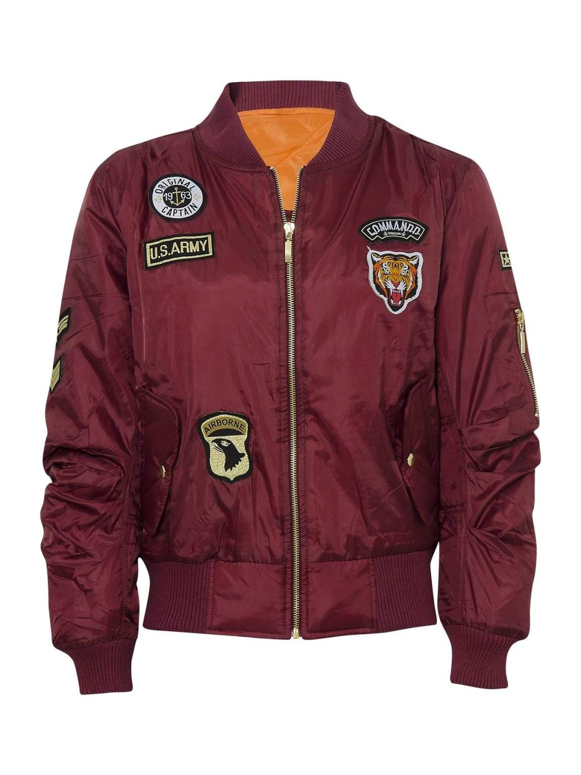 Celebrity Badged Classic Padded Bomber Jacket In Wine - XS - Shirts