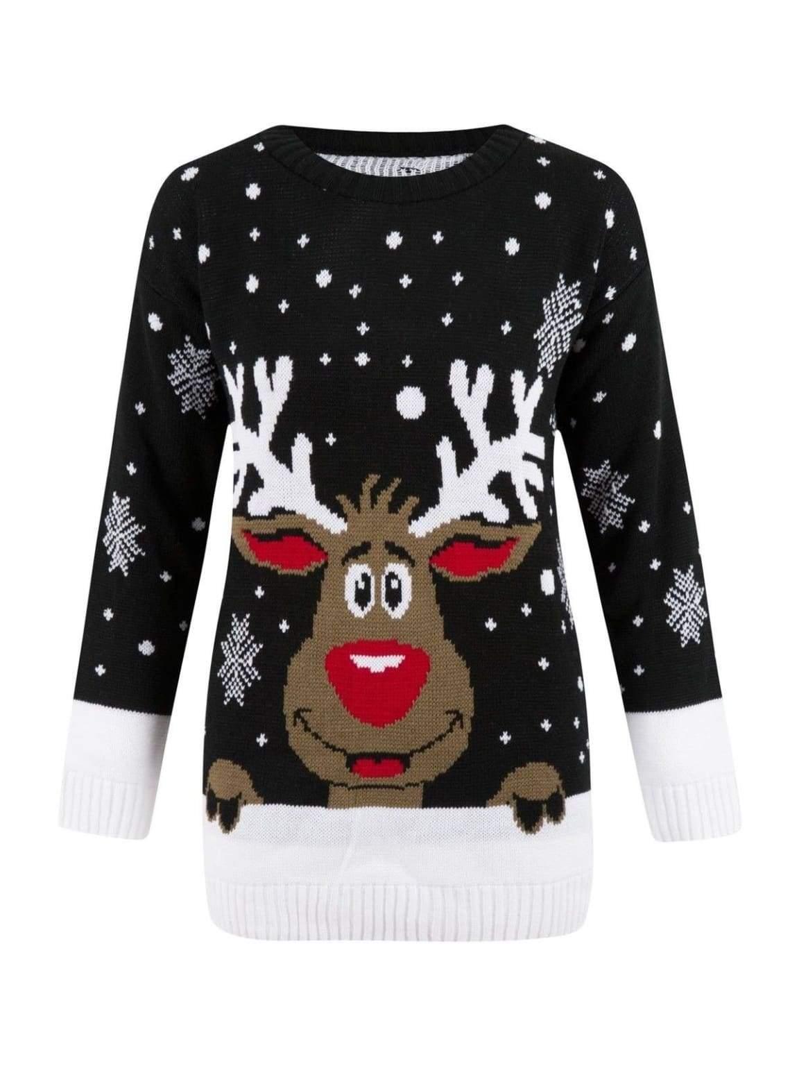 Christmas Rudolph Reindeer Snow Flake Jumper In Black - S/M - Shirts