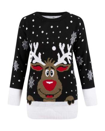 Christmas Rudolph Reindeer Snow Flake Jumper In Black - S/M - Shirts