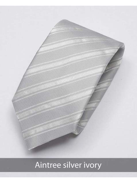 Heirloom Aintree Mens Silver Ivory Stripped Tie - Accessories