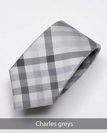 Heirloom Charles Mens Greys Check Tie - Accessories