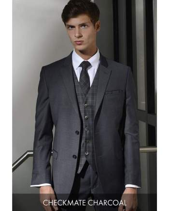 Heirloom Checkmate Mens Charcoal Luxury Waistcoat - 34R - WAISTCOATS