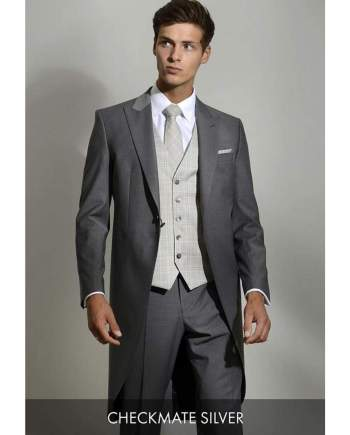 Heirloom Checkmate Mens Silver Luxury Waistcoat - 34R - WAISTCOATS