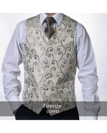 Heirloom Firenze Mens Coffee Luxury 100% Wool Tweed Waistcoat - 34R - WAISTCOATS