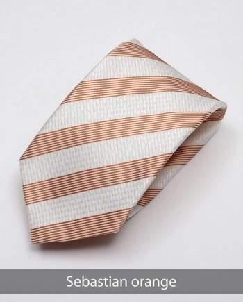 Heirloom Sebastian Mens Orange Stripped Tie - Accessories