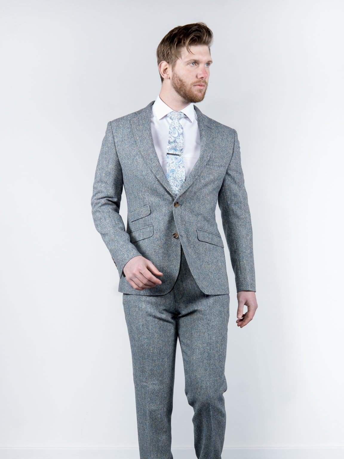 Ice Blue 100% Donegal Wool Tweed Blazer - 38S - Suit & Tailoring