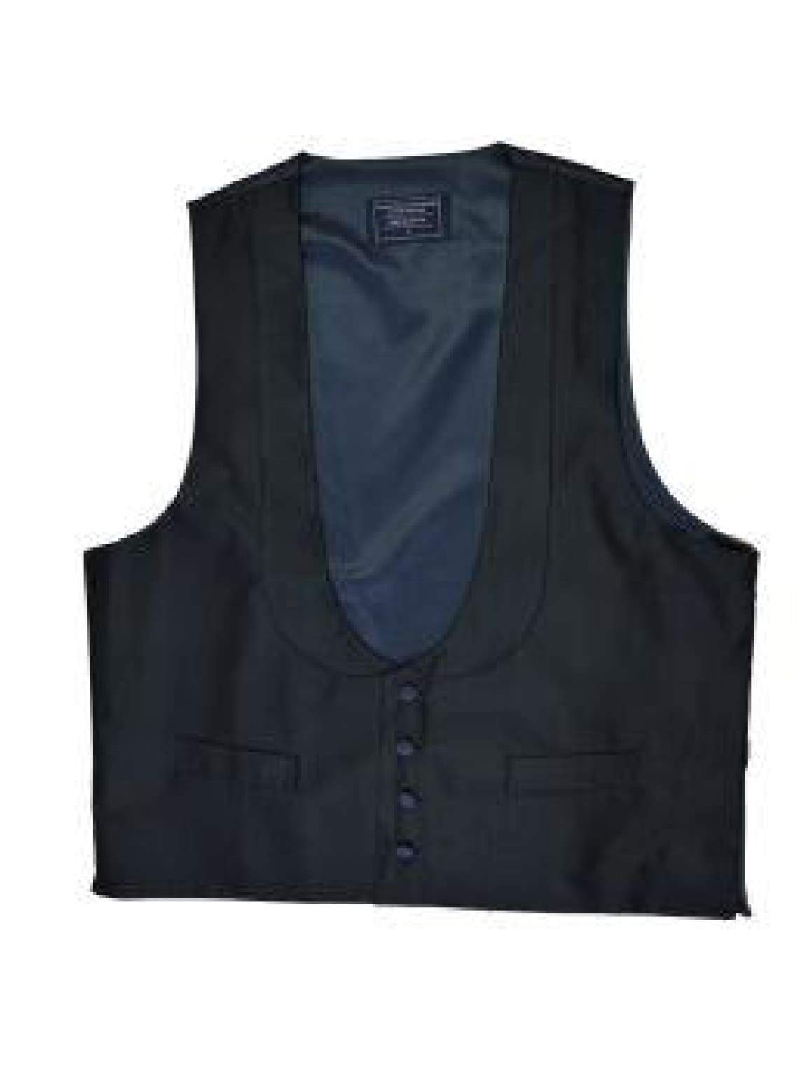 L A Smith Black Silk Scoop Neck Waistcoat - Suit & Tailoring