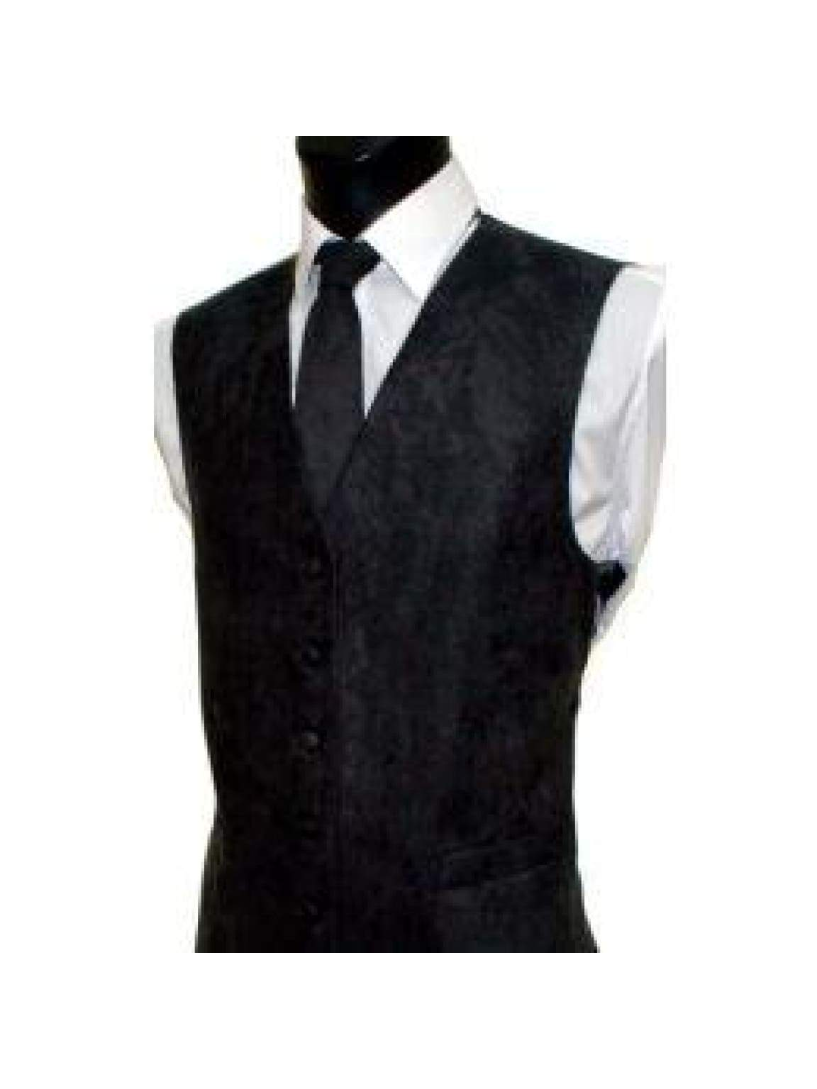 L A Smith Black Suede Look Waistcoat - Suit & Tailoring