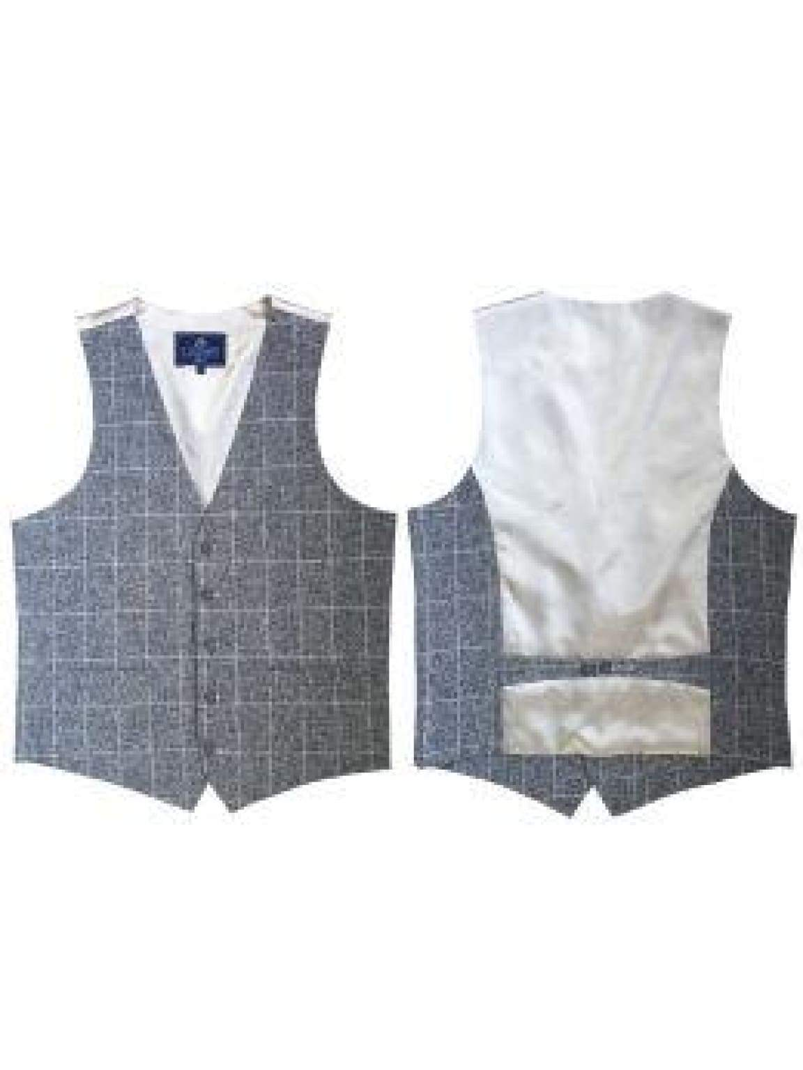 L A Smith Linen-Look Grey Modern Fit Waistcoat - 34 Chest - Suit & Tailoring