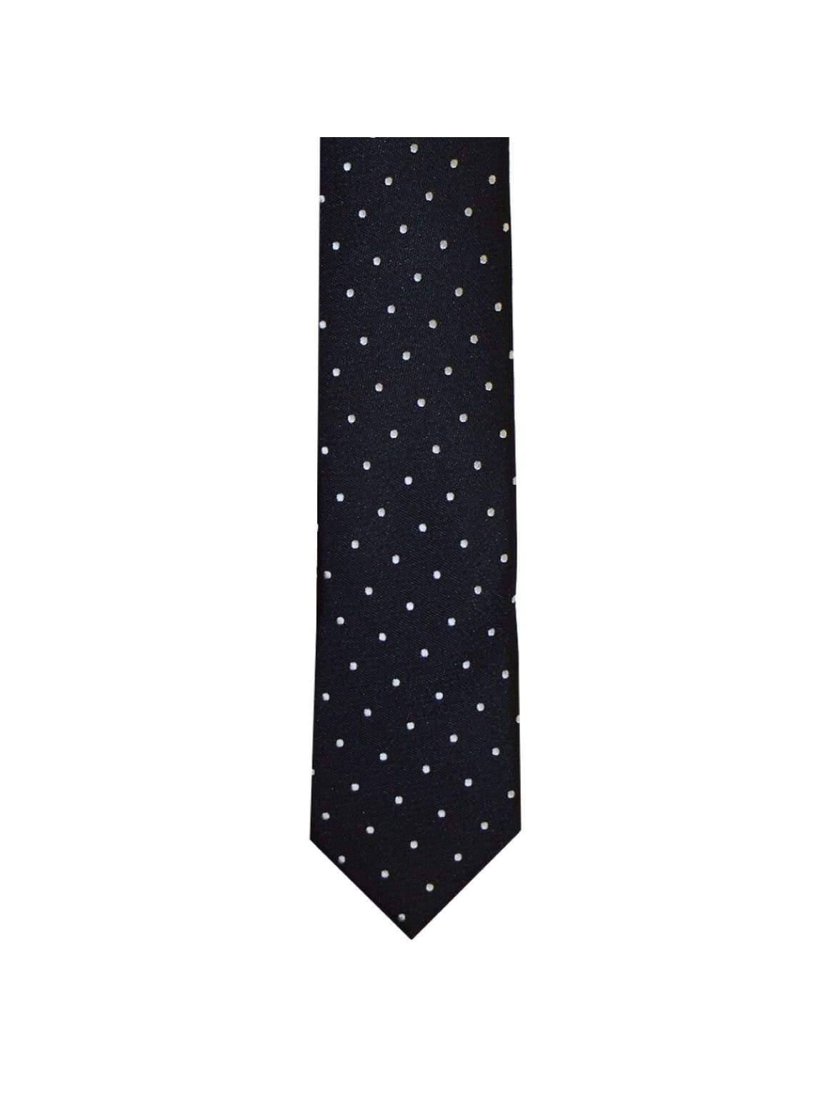 LA Smith Black And White Skinny Polka Dot Tie - Accessories