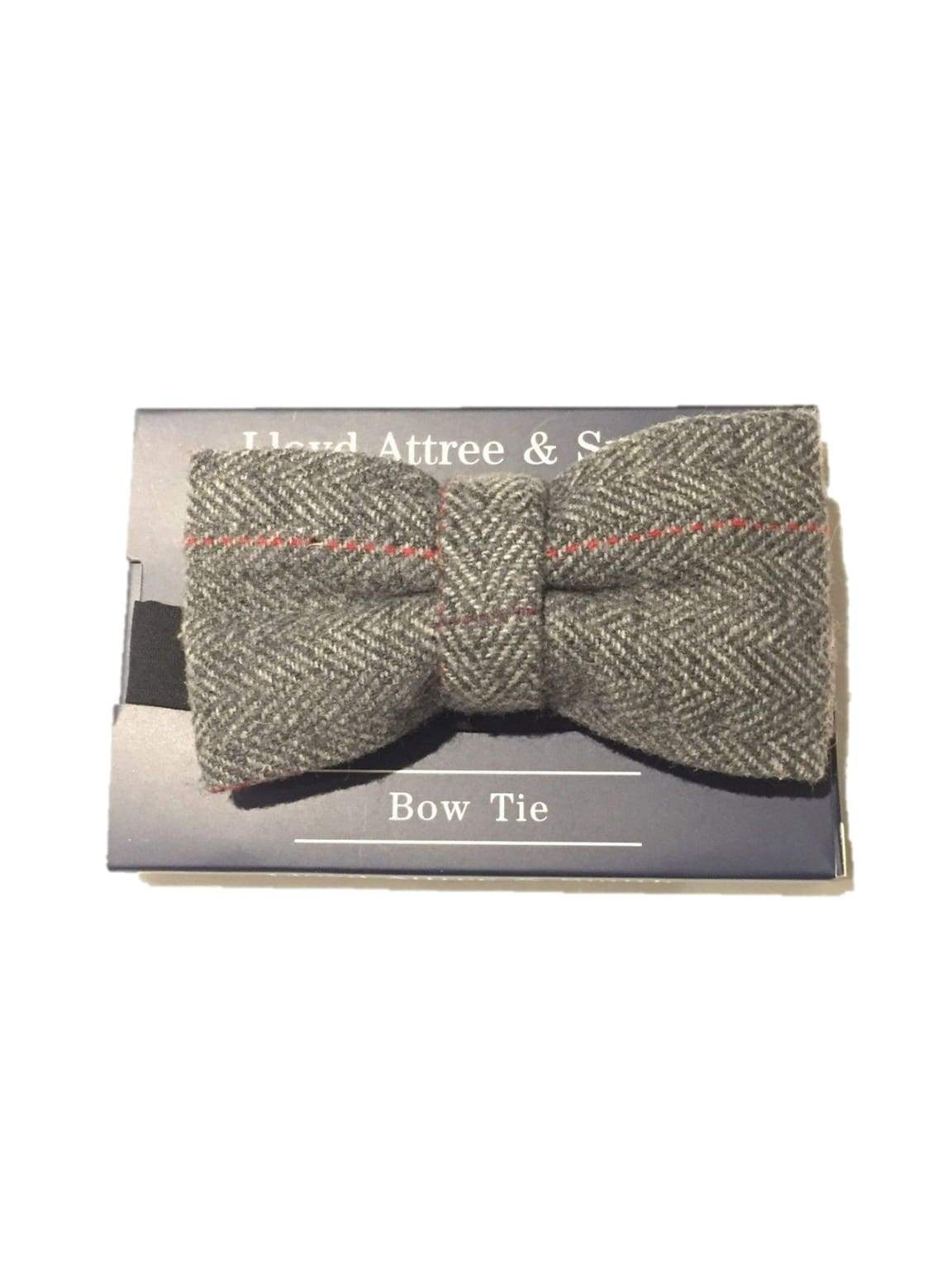 LA Smith Grey Check Tweed Bow Tie - Accessories