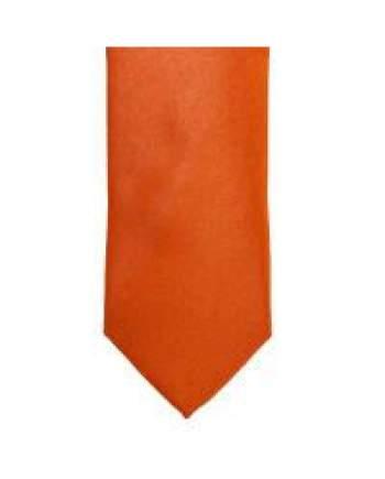 LA Smith Orange Skinny Weft Satin Tie - Accessories