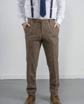 Torre Elton Tweed Mens Brown Donegal Tweed Trousers - Suit & Tailoring