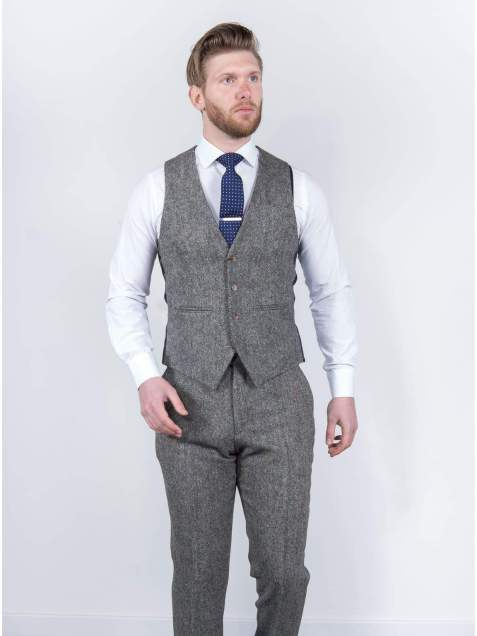 Torre Mens Grey 100% Wool Donegal Tweed Waistcoat - Suit & Tailoring