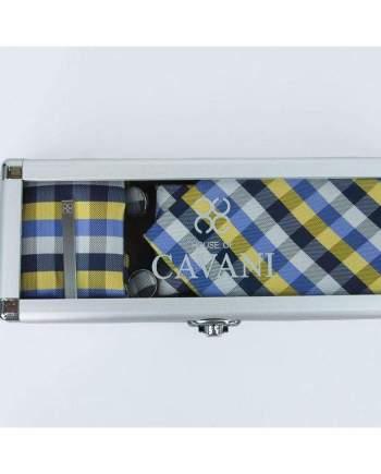Yellow Check Tie Hank Tie Pin Cufflinks Set - Accessories