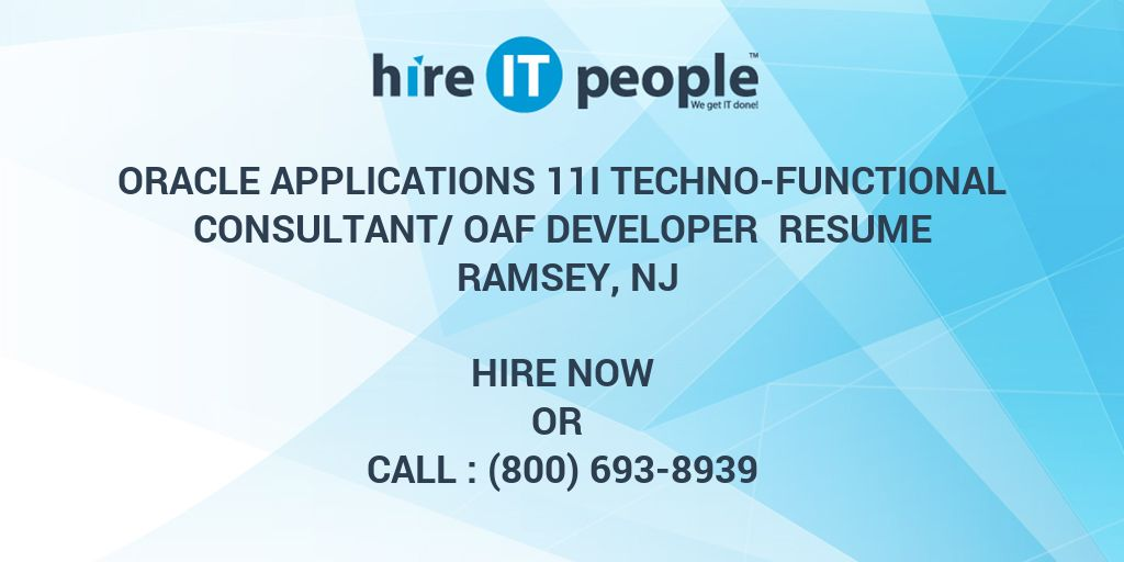 Oracle Applications 11i TechnoFunctional ConsultantOAF Developer Resume Ramsey NJ  Hire IT