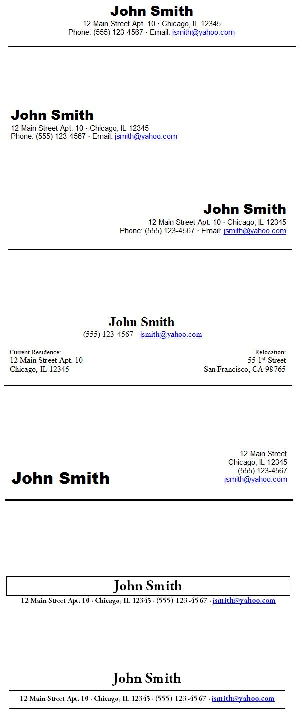 Resume Heading Examples Examples of Resumes