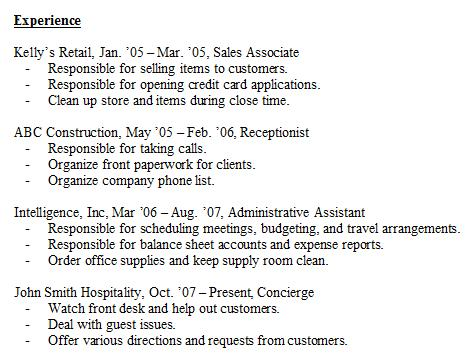 experience section of resume examples examples of resumes