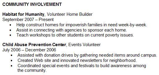 volunteer involvement resume